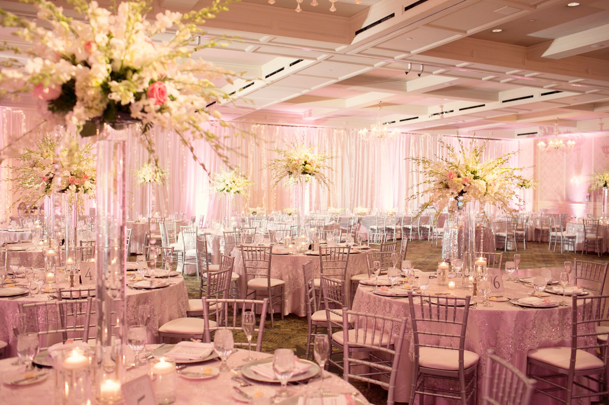 Sparkly Blush Pink Reception Tables and Linens with Tall