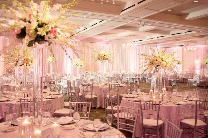 Sparkly Blush Pink Reception Tables and Linens with Tall Ivory ...