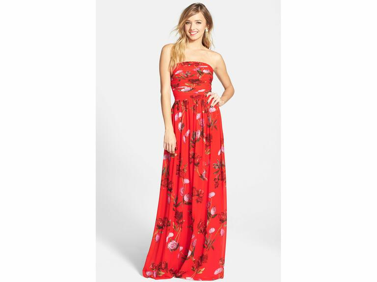 strapless red maxi dress with floral print
