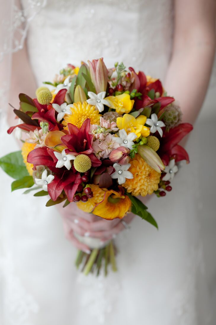 Yellow and Red Craspedia, Calla Lily and Dahlia Bridal Bouquet