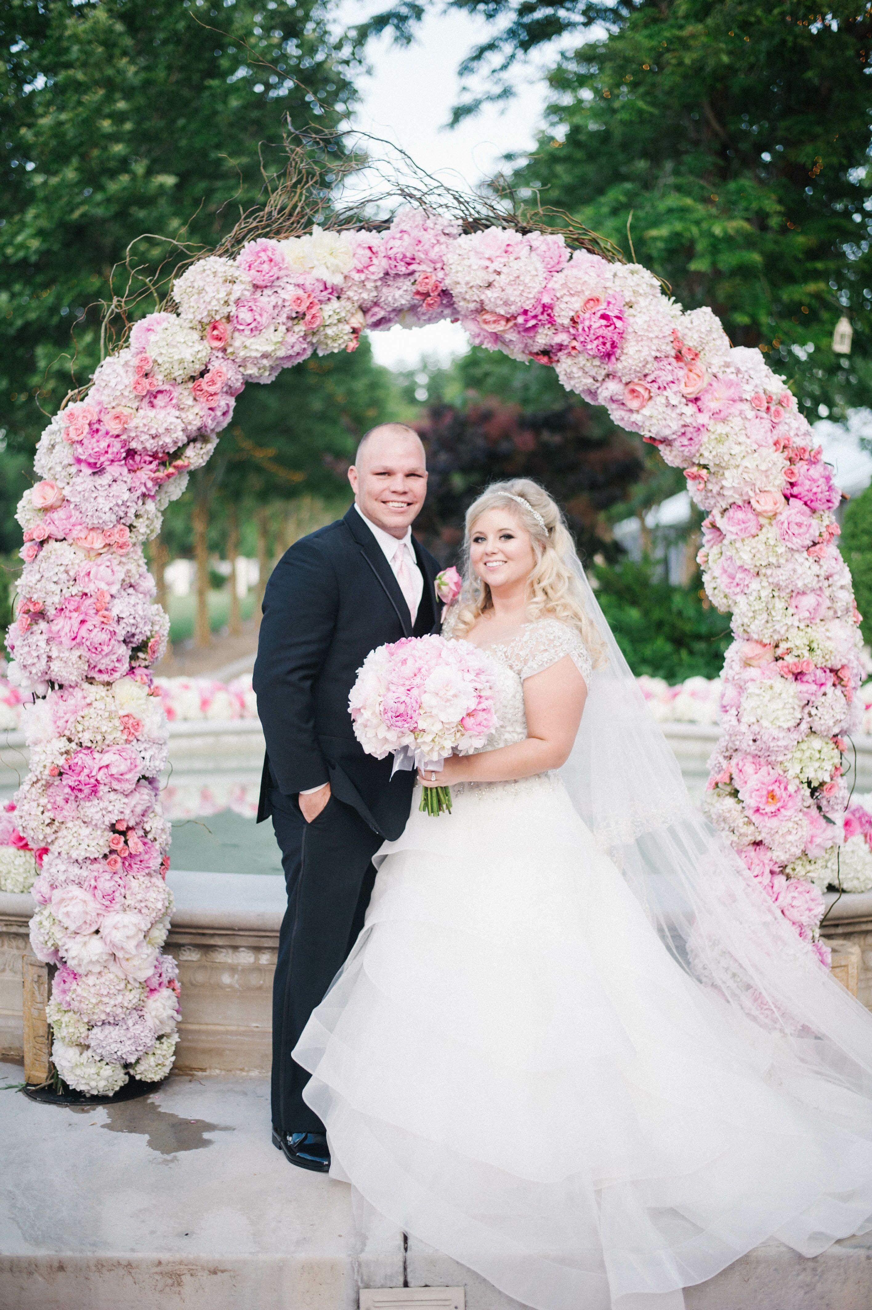 Pink Peony Rose Hydrangea Wedding Arch