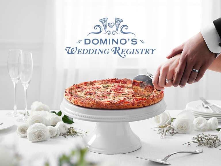 stop everythingdominos now has a pizza wedding registry