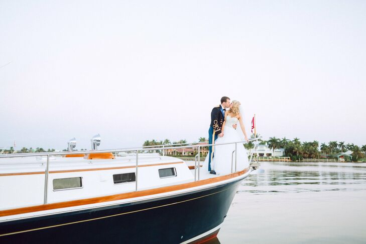 Amanda and Jake combined a soft pink palette with unexpected nautical elements for a memorable marina wedding in Naples.