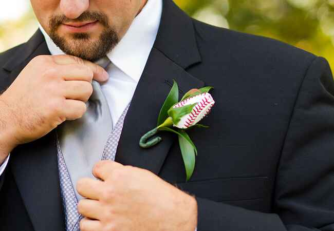 Baseball Boutonniere | Kate Danielle Photography | Blog.theknot.com