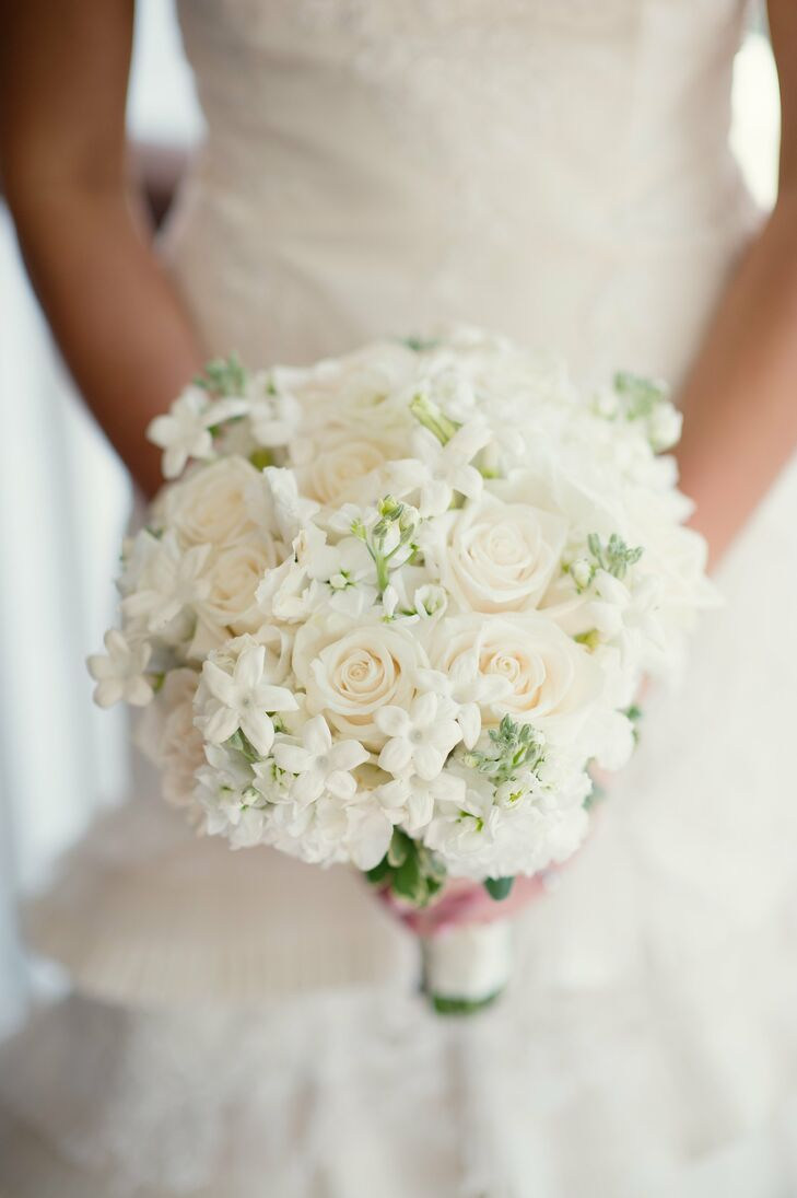 wedding bouquet flowers white and stephanotis bridal bouquet 8454