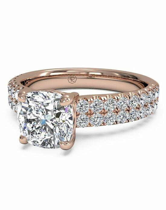 Ritani Cushion Cut Double French-Set Band Engagement Ring in 18kt Rose Gold (0.59 CTW) Engagement Ring photo