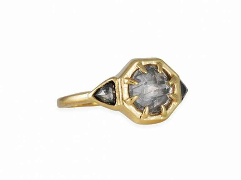 Lauren Wolf Salt and pepper diamond octagon ring in yellow gold