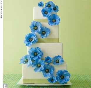 Blue and green floral wedding cake