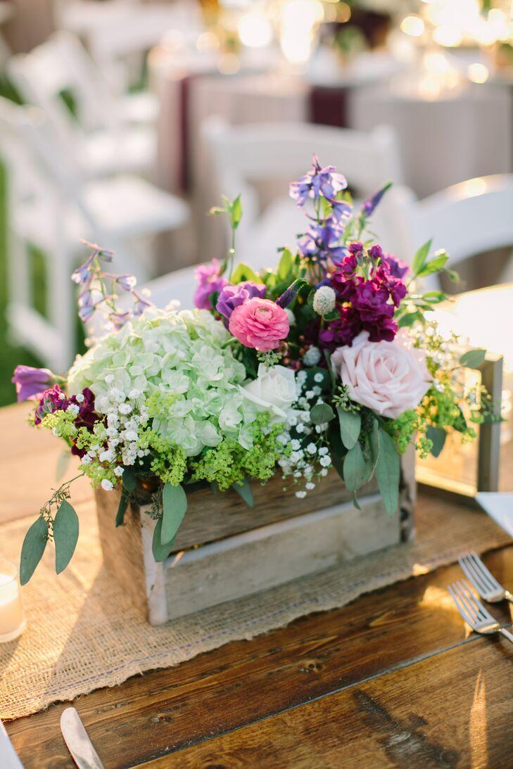 Rustic hydrangeas and purple wildflower centerpieces