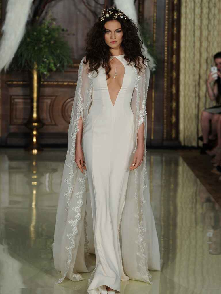 Galia Lahav embroidered chiffon wedding dress with winged cape Spring 2016