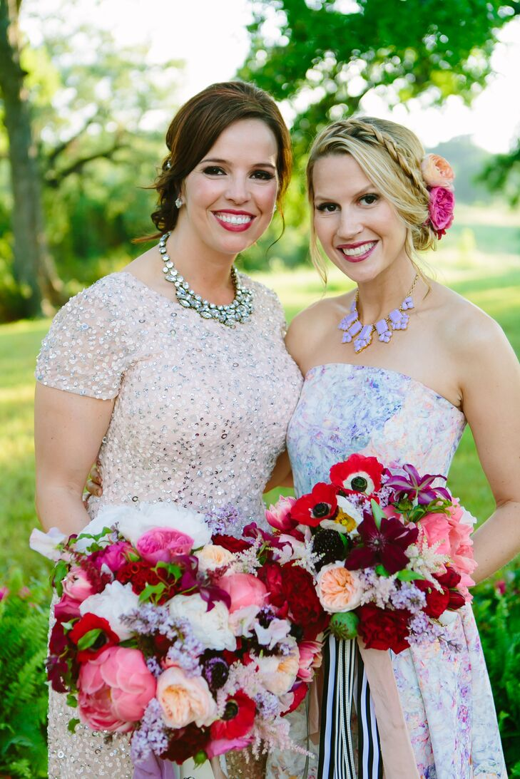 "Instead of sticking to a color theme, Paige's bouquet included hues ranging from deep reds to pinks, lavender and even white. (She calls it ""shades of lipstick."") Her bridal bouquet and her maid of honor's bouquet included peonies, garden roses, anemones, tulips, celosia, coxcomb, scabiosa, astilbes, lilacs, sweet peas, jasmine, clematis and more."