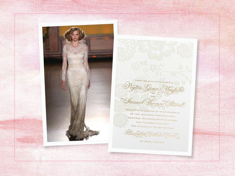 Vintage Claire Pettibone Wedding Gown And Lace Detailed Invitation