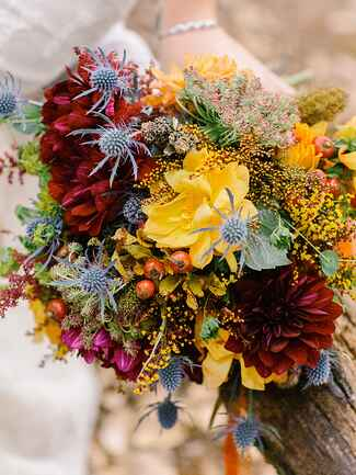 Fall thistle and berries wildflower wedding  bouquet