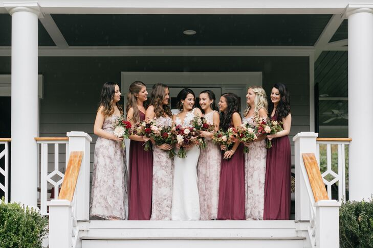 Floral-Print and Burgundy Bridesmaid Dresses with Complementary Fall Bouquets