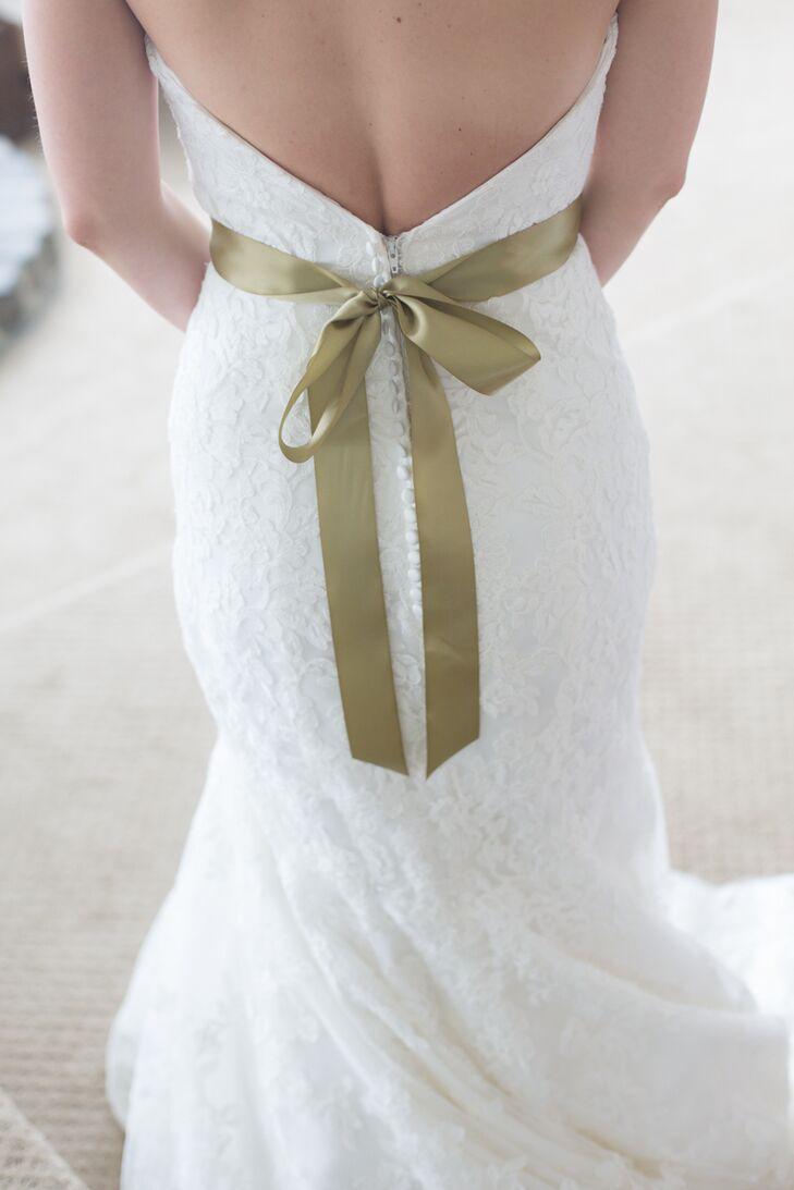 Green Ribbon Wedding Dress Sash