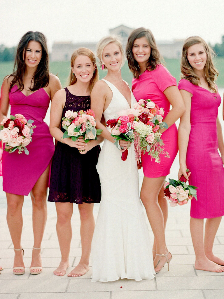 These mismatched bridesmaid dresses are the hottest trend hot pink mismatched bridesmaid dresses ombrellifo Gallery