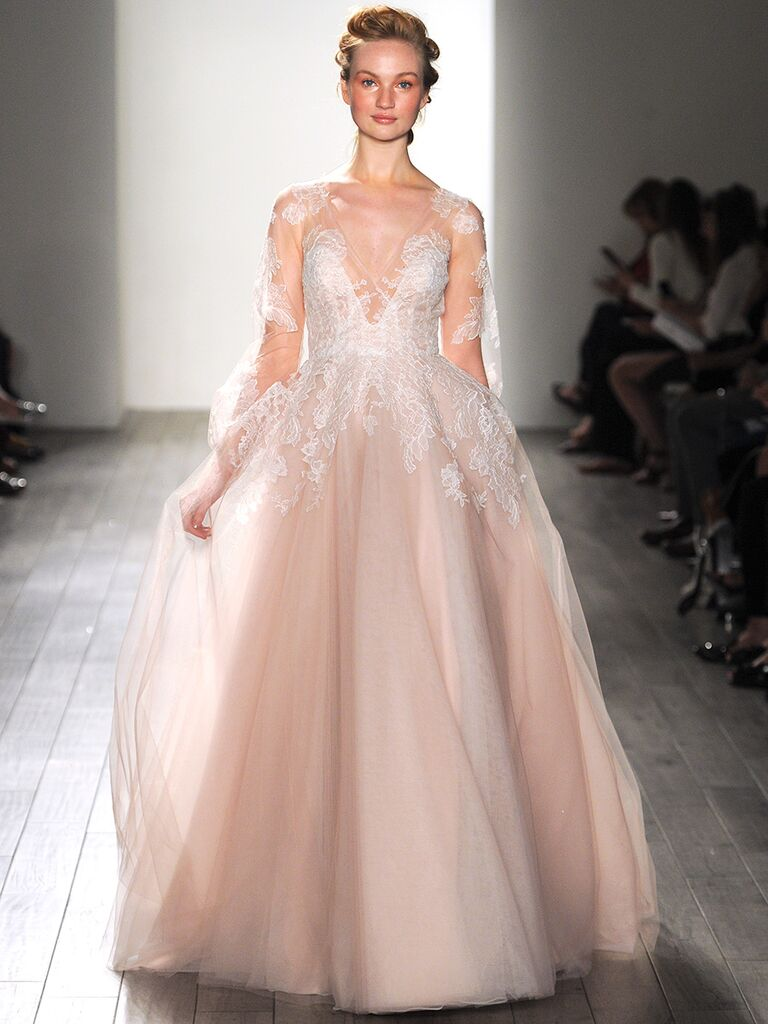 The prettiest blush and light pink wedding gowns long sleeved blush pink hayley paige wedding gown junglespirit