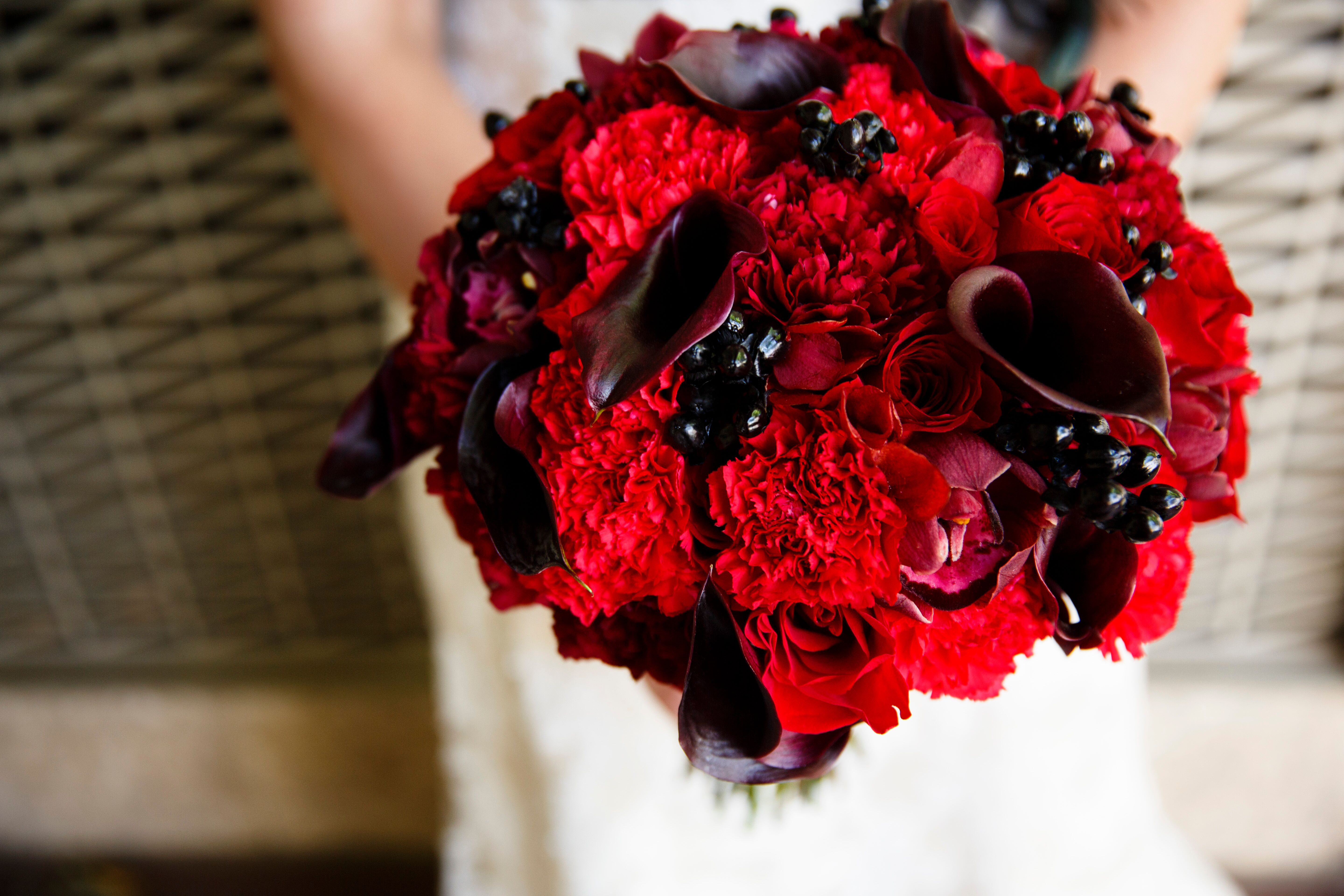Red Carnation And Calla Lily Bouquet