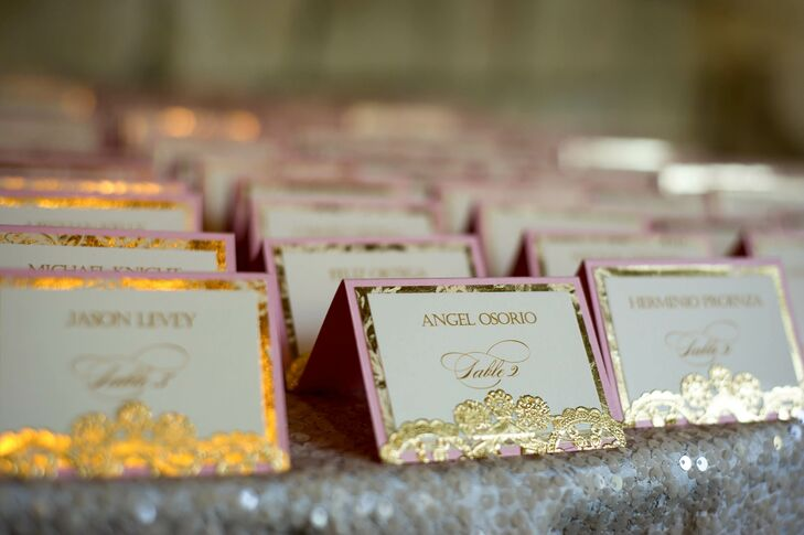 "Jacqueline truly loved the wedding day's stationery using blush and gold colors with handmade gold foil trims. ""They were to die for,"" she says. ""I still gush over them when I look at them."""