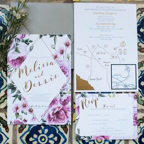 Geometric Purple Floral Invitations