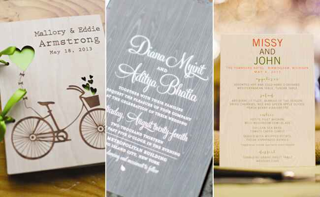 Woodgrain Wedding Stationery | blog.TheKnot.com