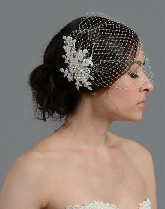 Tulip Bridal Birdcage Veil with Alencon Lace Flower Wedding Accessory photo