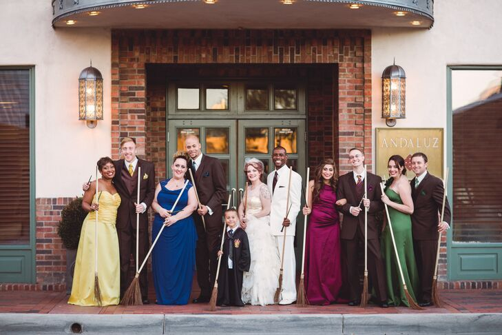 Harry Potter House Themed Bridesmaid And Groomsmen Outfits With Brooms Hogwarts Houses Wedding Party