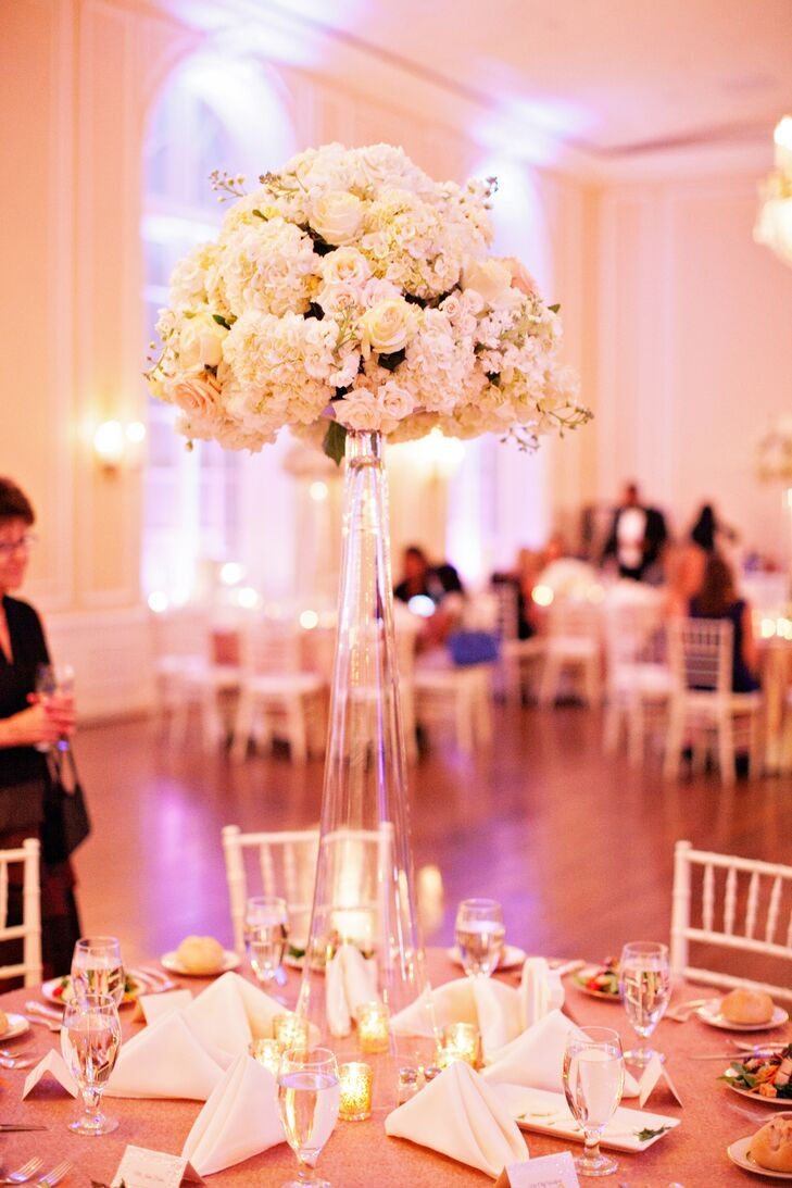 Tall Glass Vase Centerpieces With White Roses Miniature Roses And