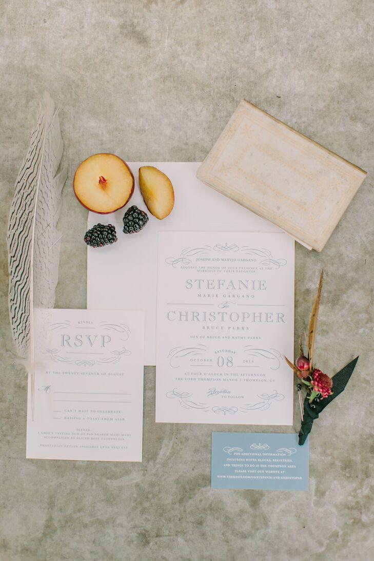 Custom Blue Letterpress Wedding Invitations
