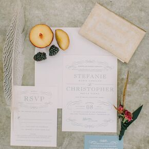 custom blue letterpress wedding invitations - Wedding Invitations Vintage