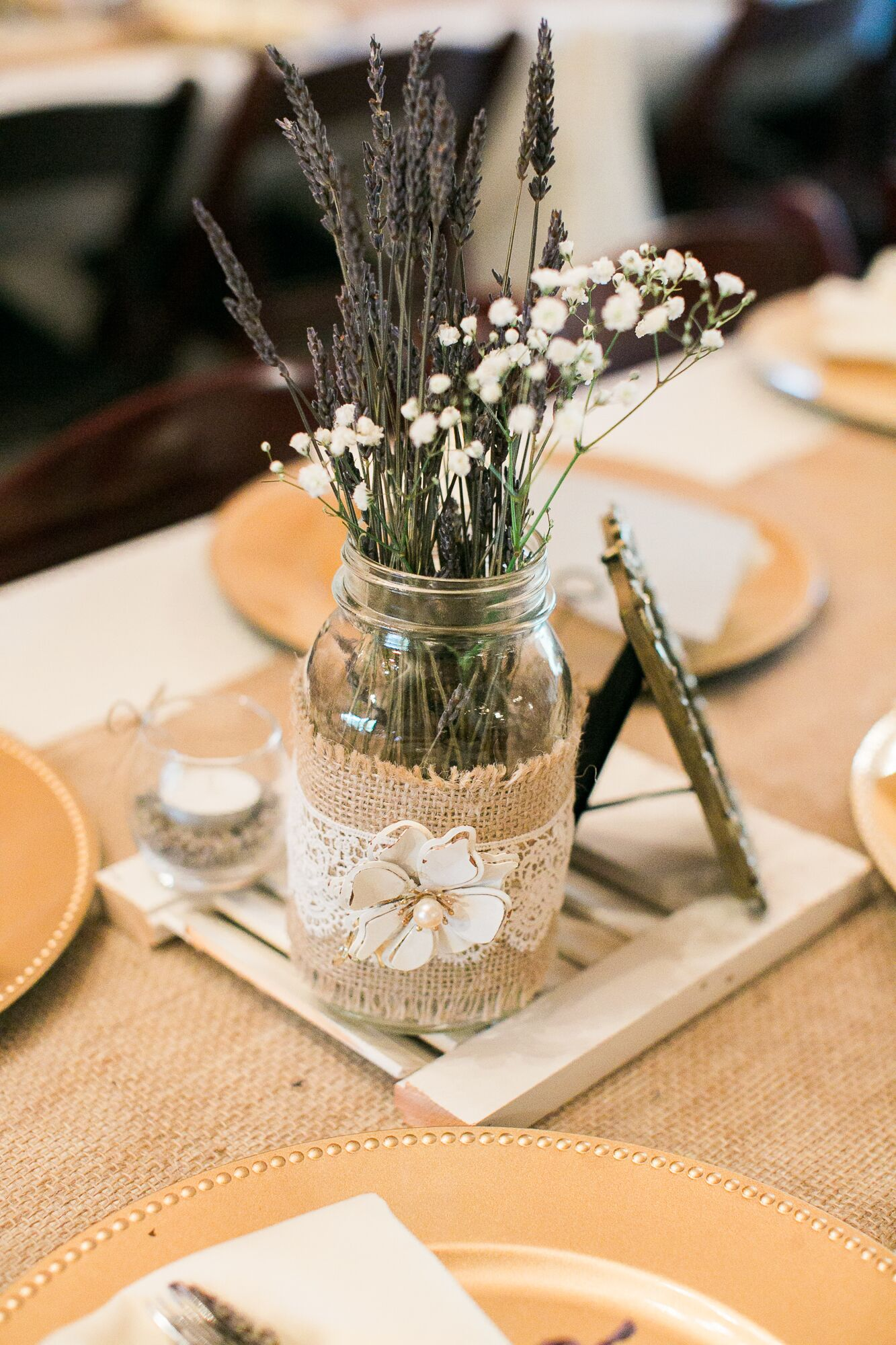 Lavender Baby S Breath Rustic Jar Centerpiece