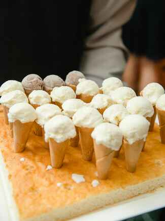 Ice cream cone desserts served on a cake tray