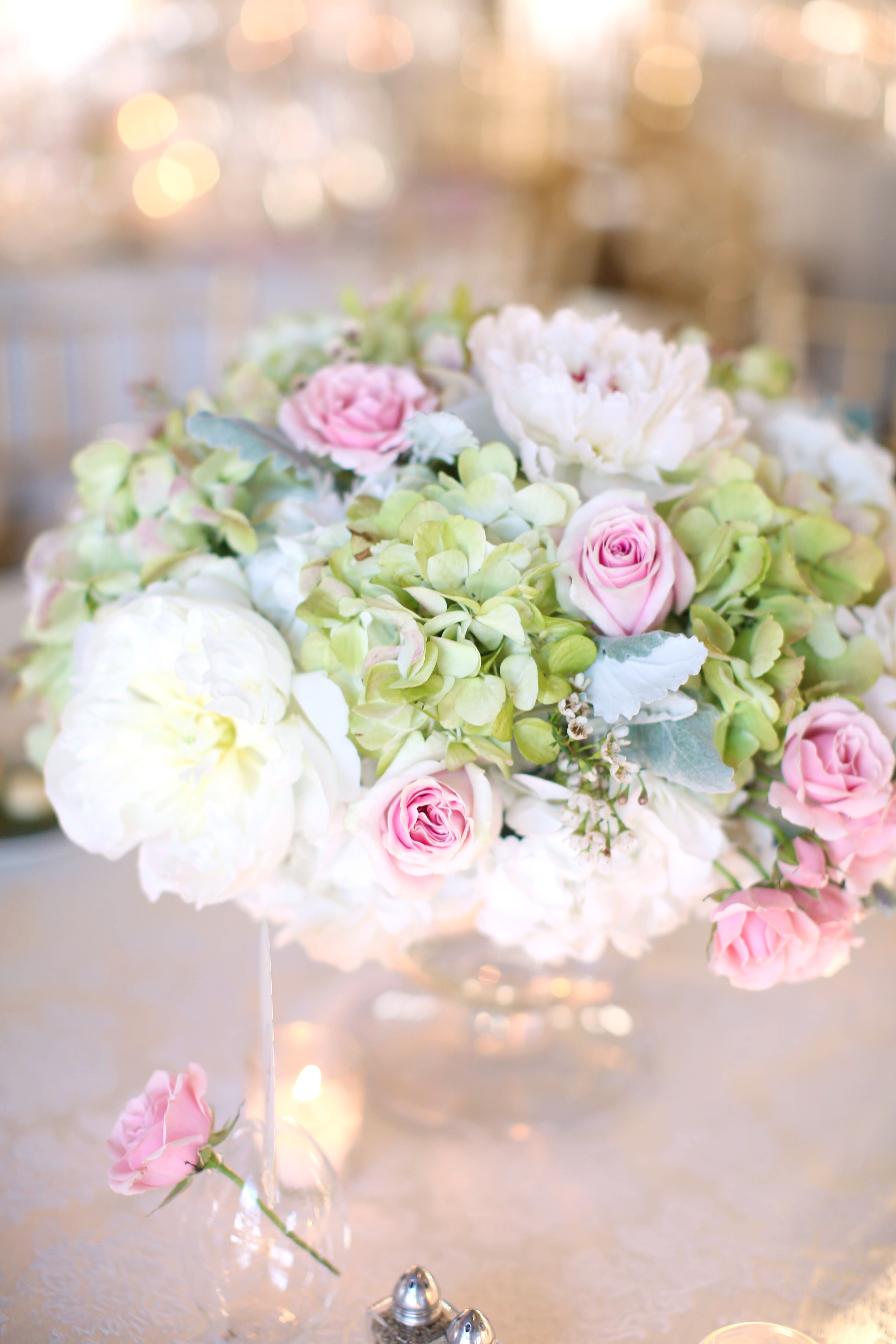 Green hydrangea pink rose and ivory peony centerpieces