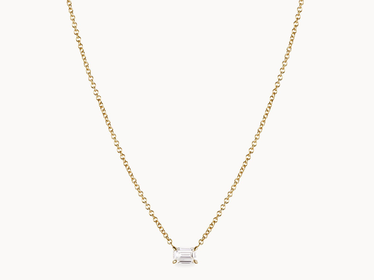 single diamond necklace on gold chain