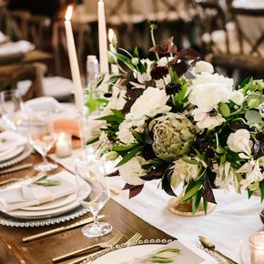 Natural wedding centerpieces fresh artichoke centerpiece with anemones junglespirit Image collections