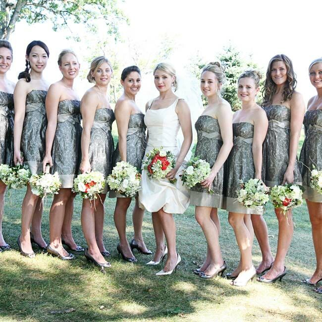 90e0007463c Pewter and Champagne Bridesmaid Dresses