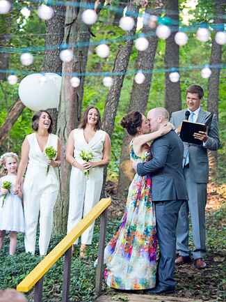 Unique outdoor ceremony idea with a ceiling of string lights