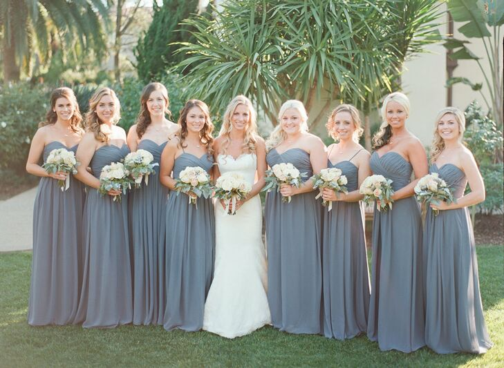 Strapless Floor-Length Charcoal Bridesmaid Dresses