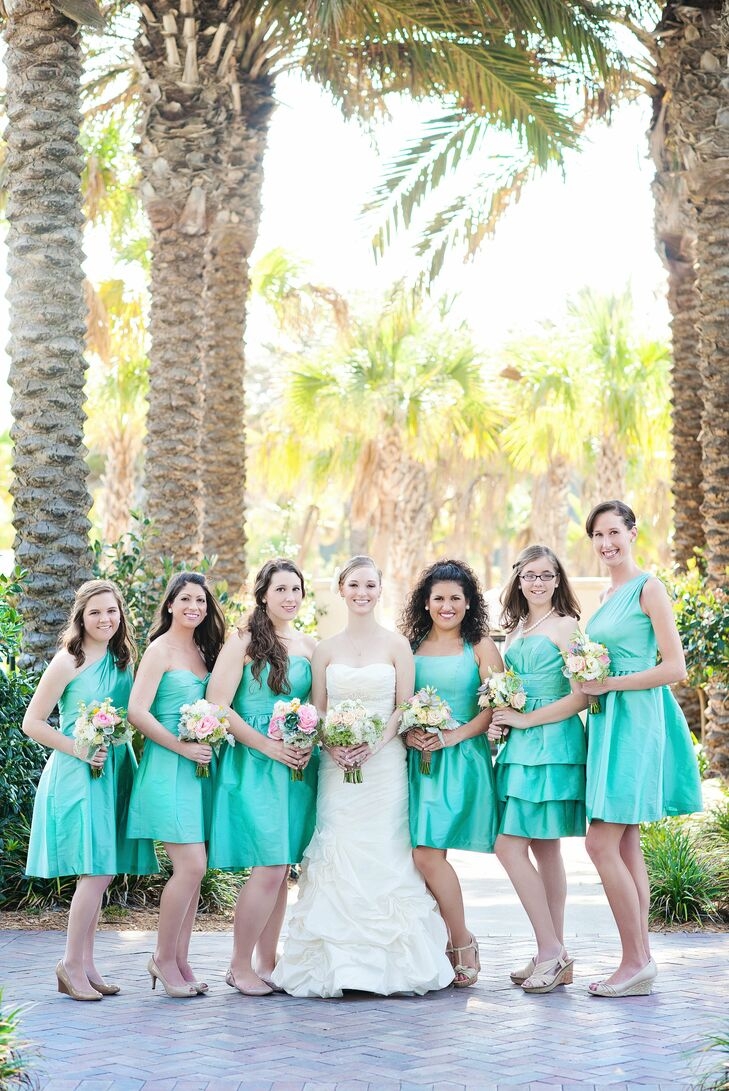 Bright Teal Bridesmaid Dresses Long