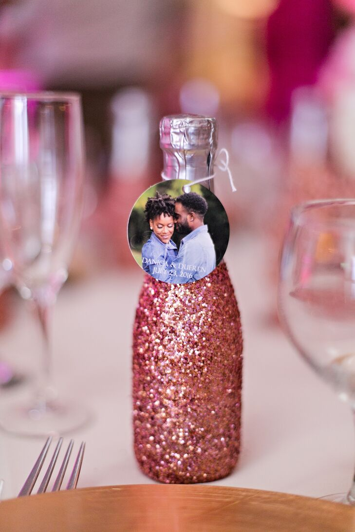 Mini Pink Glitter Champagne Bottle Favors