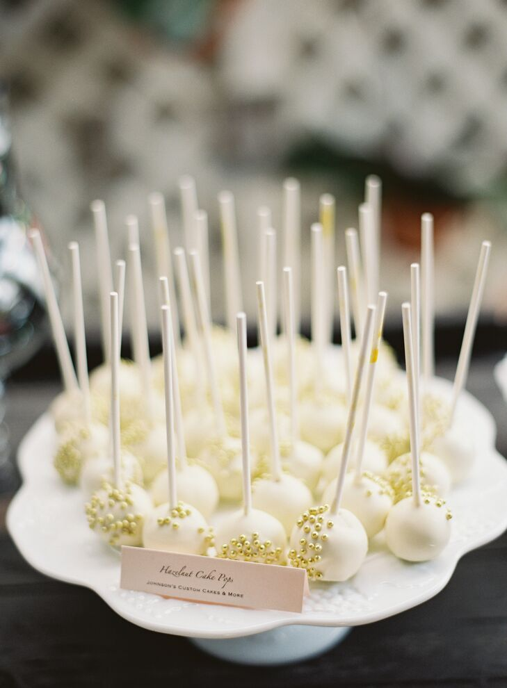 Gold Bead Accented Hazelnut Cake Pops