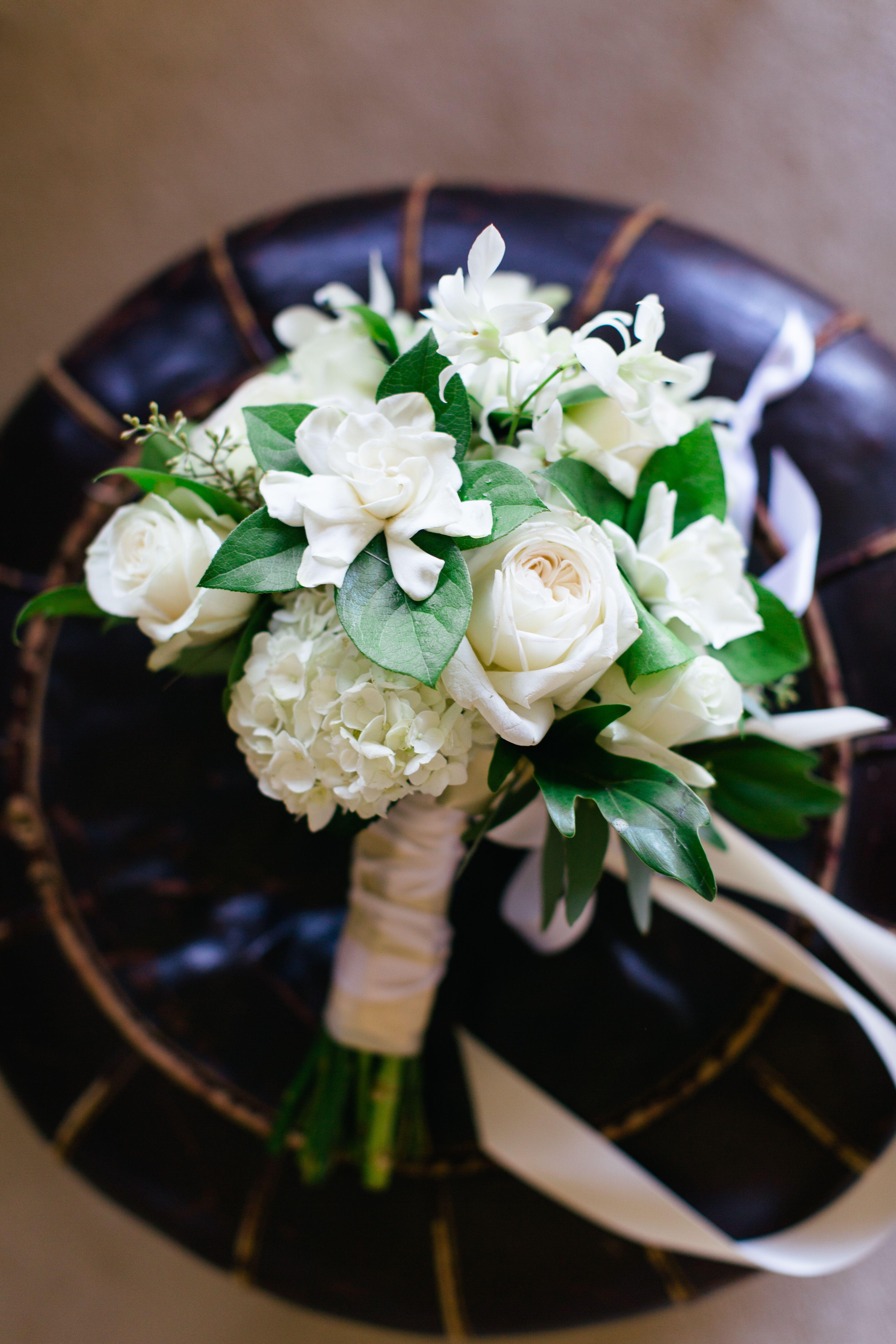 Ivory Gardenia Roses And Hydrangea Bouquet