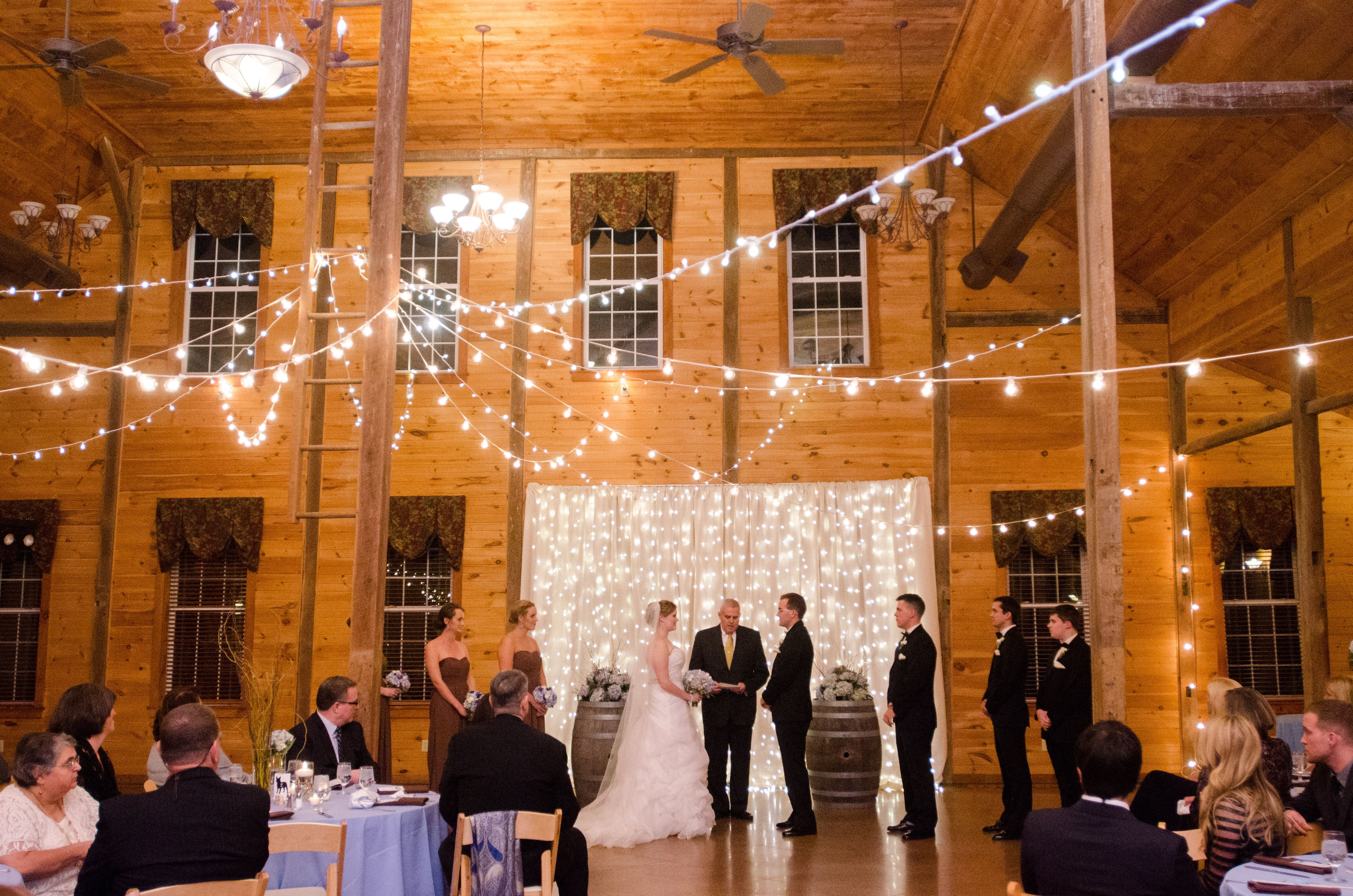 Elegant Drapery At Indoor Ceremony: Indoor Ceremony With Lighted Curtain Backdrop