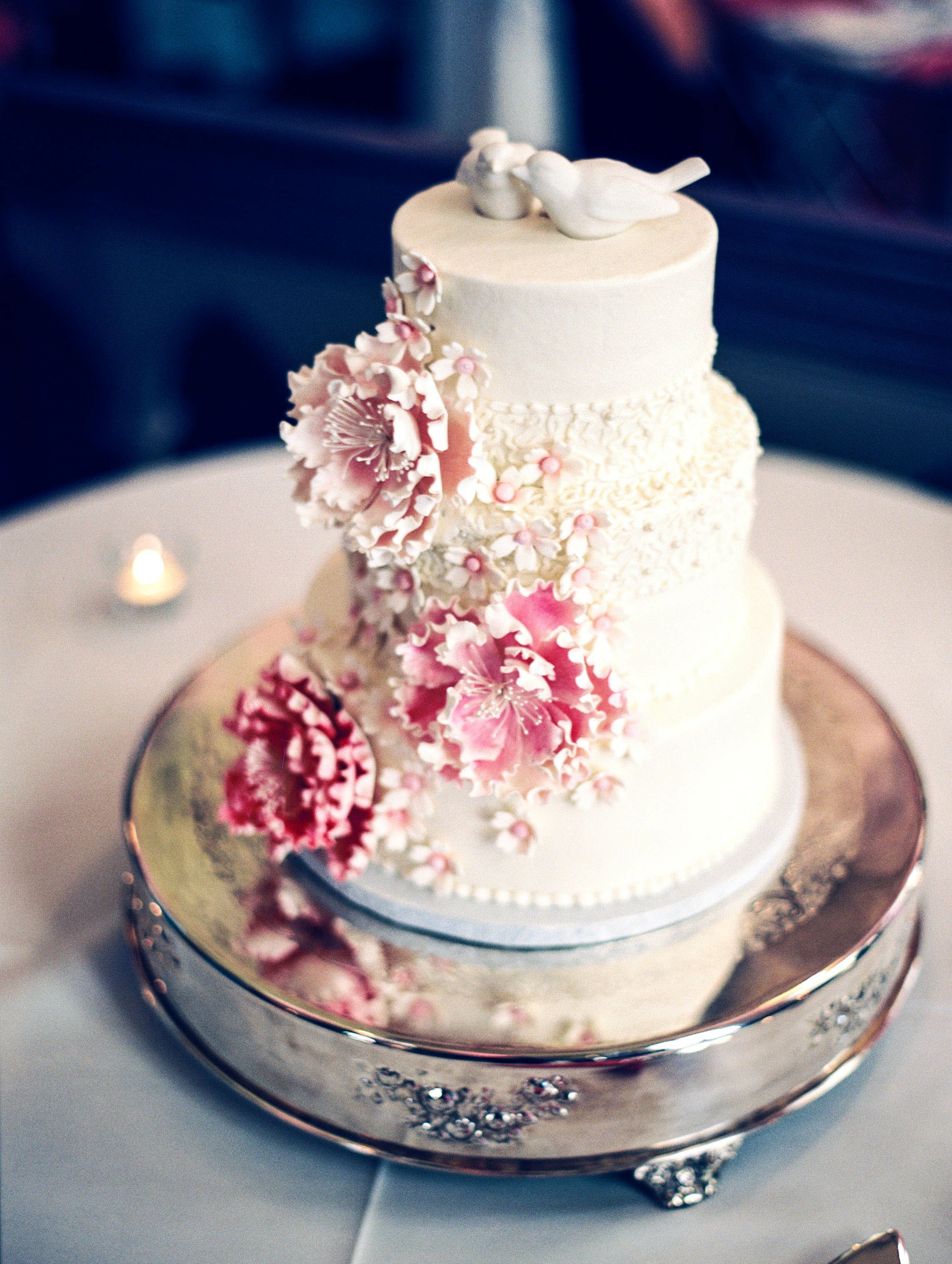 Pink and White Peony Sugar Flower-Decorated Cake