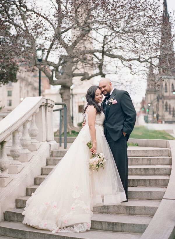 Glamorous Bride and Groom outside Baltimore's Peabody Library