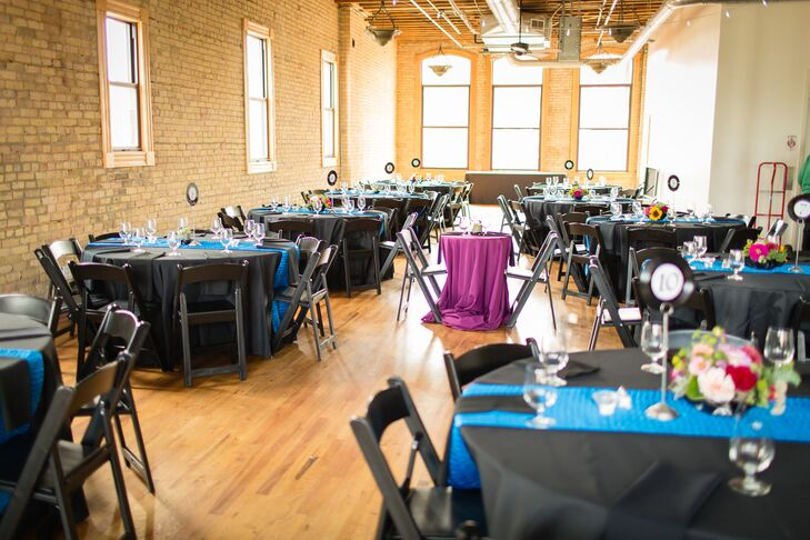 "Anna and Brandon chose the Day Block Event Center in Minneapolis, Minnesota, because they loved its old industrial warehouse feel. ""We loved the open layout and the rustic, vintage feel,"" Anna says. ""It had exposed brick walls and high ceilings."""