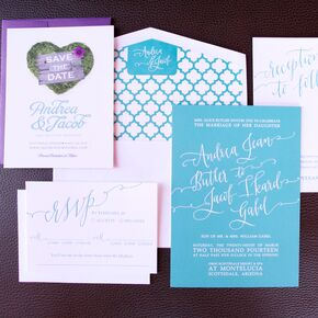 whimsical turquoise and purple invitations - Purple And Turquoise Wedding Invitations