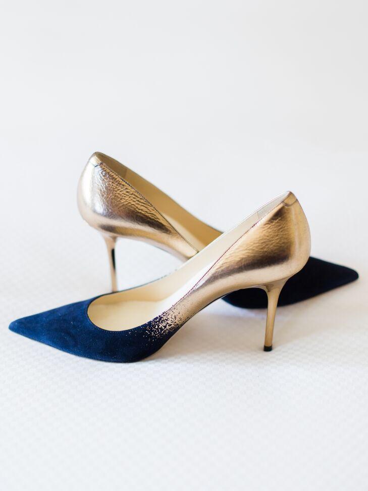 Gold and Navy Jimmy Choo Heels