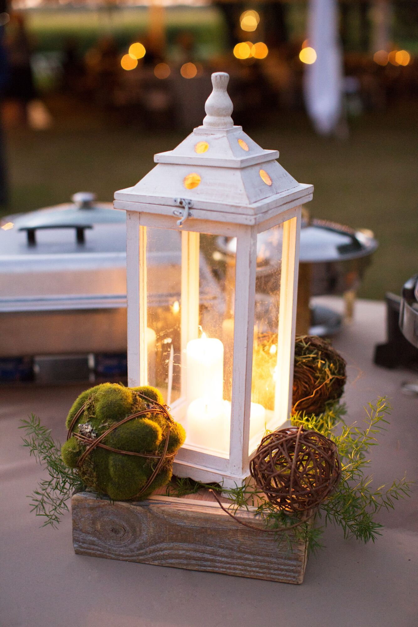 rustic white lantern green moss ball wedding centerpieces