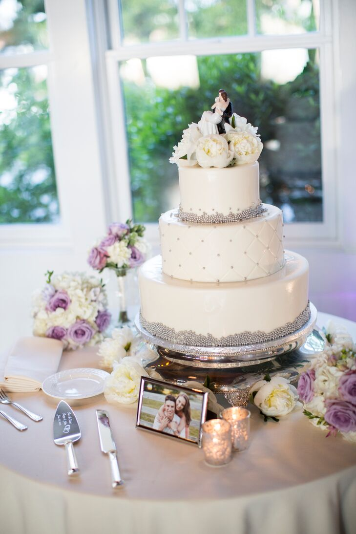 Three-Tier White and Silver Wedding Cake